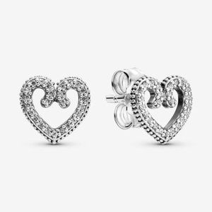 Pandora Heart Swirl Stud Earrings